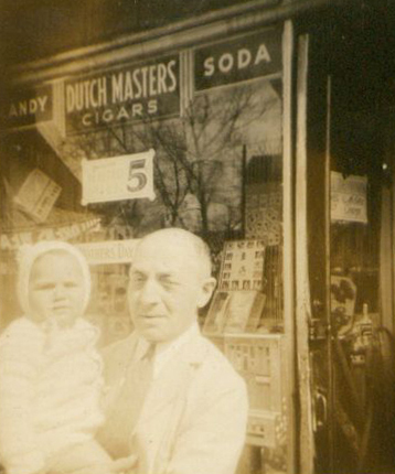 Louis Podber and me in front of 324 Church Avenue, Brooklyn, 1939